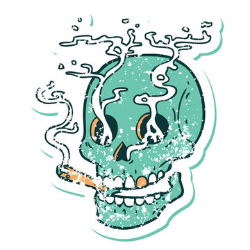 distressed sticker tattoo style icon of a skull smoking