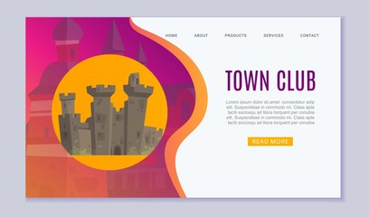 Town club promo website, cartoon vector illustration. Vintage old castle or european town towel and historic ruins of old town image for pub or club web page or landing.