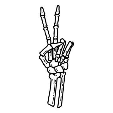 black line tattoo of a skeleton hand giving a peace sign