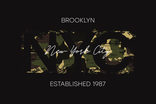 New York City, Brooklyn t-shirt design with camouflage texture. NYC apparel design with camo in military army style. Vector illustration.