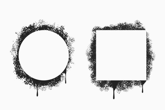 Spray painted frames in square and circle form. Stencil border set with grunge paint splatter. Graffiti and street art sprayed blank banners with black ink. Vector illustration.