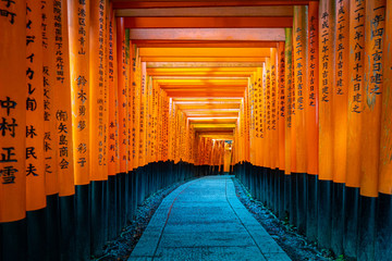 Japan. Kyoto. Torii Of Fushimi Inari Shrine. Fushimi Inari Taisha Temple. Religious complex on mount Inariyama. The temple of the thousand gates. The orange gates seem endless. Religion Of Japan.