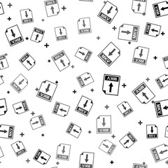 Black MKV file document icon. Download MKV button icon isolated seamless pattern on white background. Vector Illustration