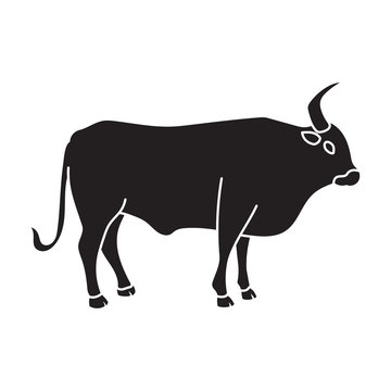 Bull vector icon.Black vector icon isolated on white background bull.