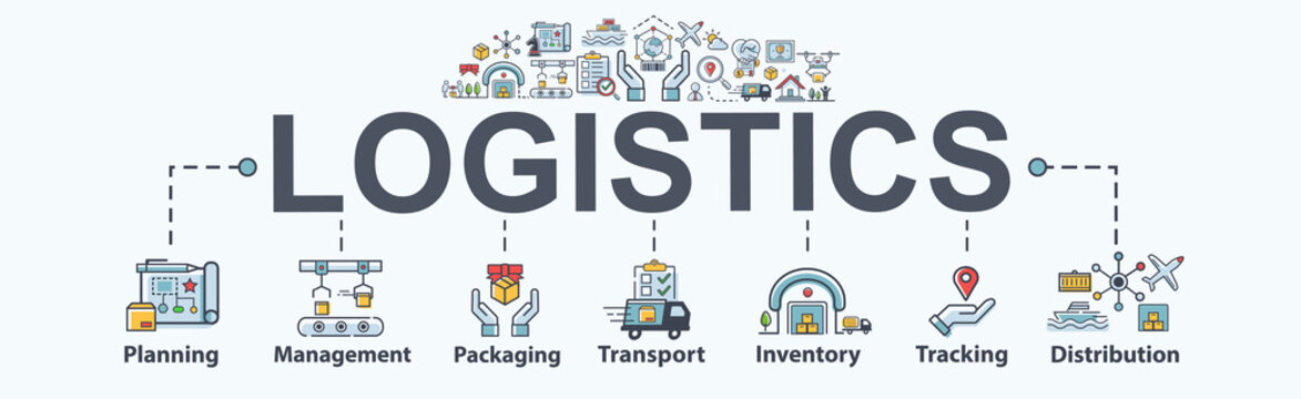 Logistics banner web icon for business. planning, management, transport, inventory, cargo, tracking, delivery and distribution. Flat modern vector infographic.