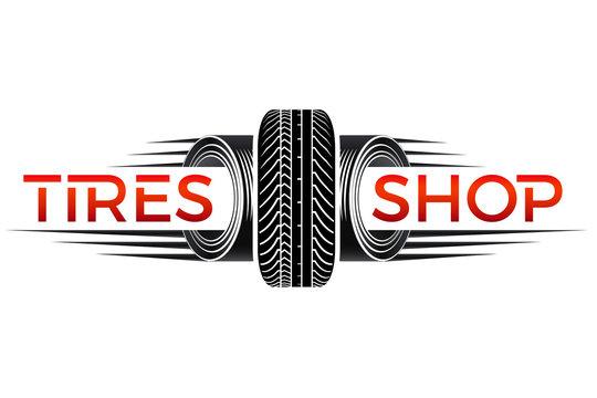 Reifenhandel - Logo design mit Autoreifen