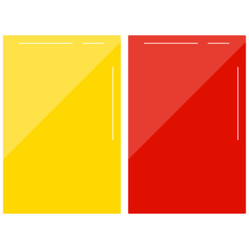 Football red and yellow card vector set isolated on white background.