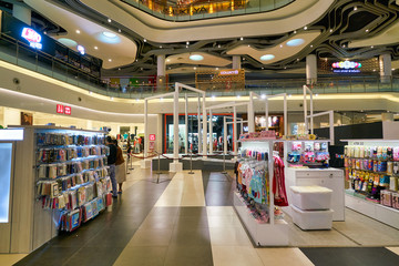 SINGAPORE - APRIL 03, 2019: interior shot of a shopping mall in Singapore.
