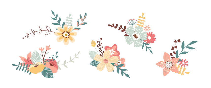 Floral spring bouquet nature set isolated