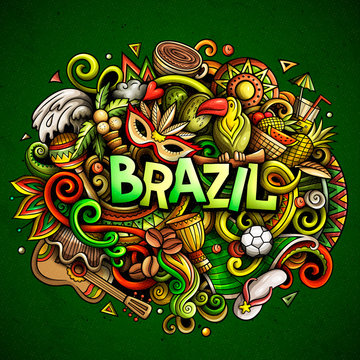 Brazil hand drawn cartoon doodles illustration. Funny design.