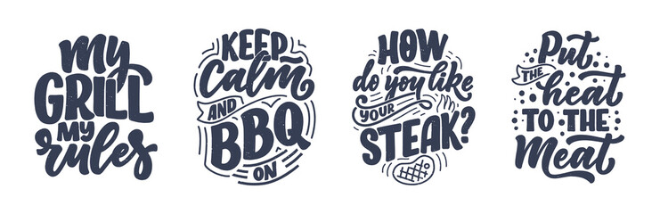 Custom blinds for kitchen with your photo Set with Bbq fun slogans, great design for any purposes. Lettering for family dinner design. Funny print, poster and banner with phrase about barbeque. Vector