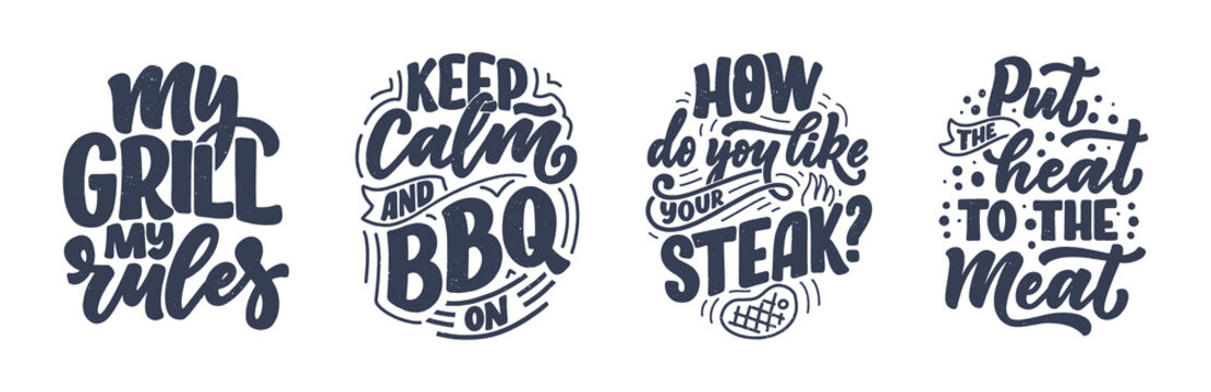 Set with Bbq fun slogans, great design for any purposes. Lettering for family dinner design. Funny print, poster and banner with phrase about barbeque. Vector