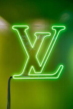 SINGAPORE - CIRCA APRIL, 2019: close up shot of Louis Vuitton sign seen at the Shoppes at Marina Bay Sands.