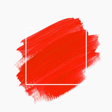Art brush stroke paint abstract background. Brush stroke texture design  over square frame. Vector.