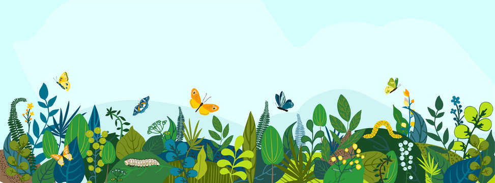 Beautiful floral background, panorama. Leaves, colorful flowers, caterpillars, butterflies. Bright spring and summer banner for cover social network, invitation, wedding, holiday. Vector illustration.