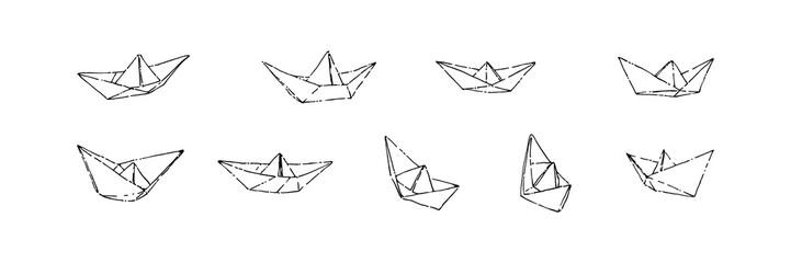 Hand drawn paper boats set, ink drawing sketch vector illustration, black isolated origami on white background