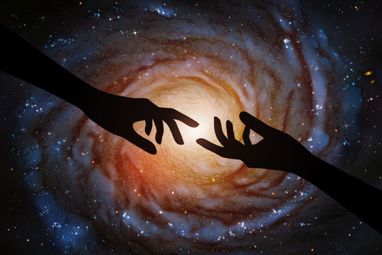 Reaching hands and spiral galaxy in outer space. Romantic vector illustration with hand silhouette and astronomical object in cosmos. Dark starry background. Elements of this image furnished by NASA