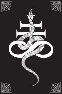 Serpent over the Leviathan Cross alchemical symbol of sulphur line art and dot work. Boho chic tattoo, poster, tapestry or altar veil print design vector illustration.