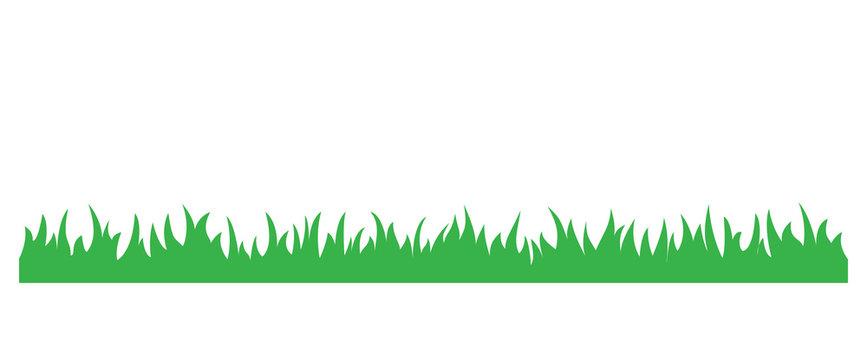 Green grass simple cartoon illustration. Summer or spring grass horizontal foliage.