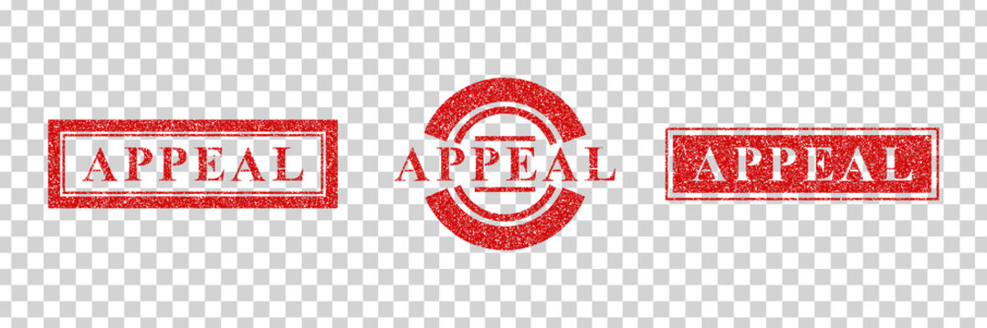 Vector realistic isolated red rubber stamp of Appeal logo for template decoration on the transparent background.