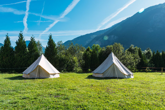 Two tipi tents in glamorous camping