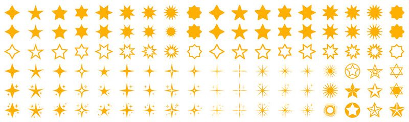 Stars set icons. Rating star signs collection – stock vector Fotomurales