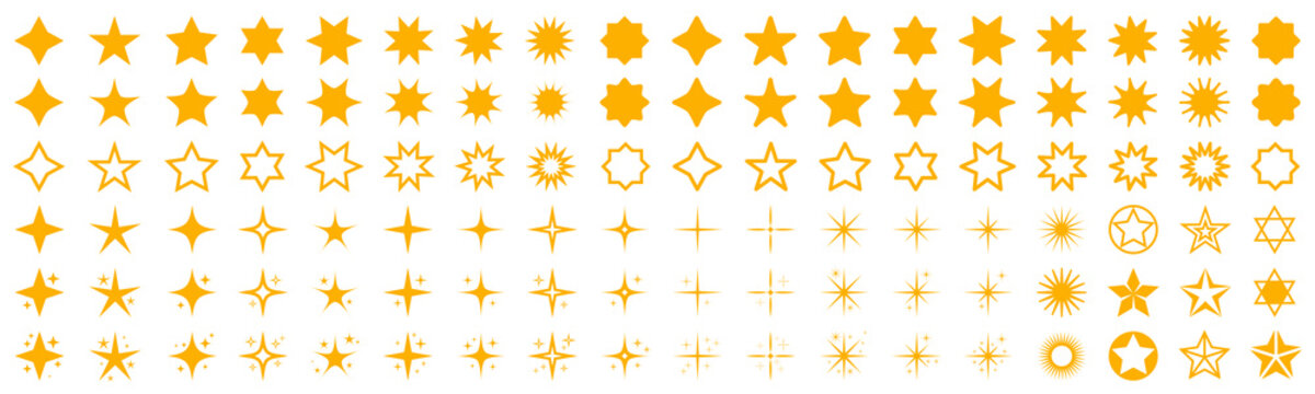 Stars set icons. Rating star signs collection – stock vector