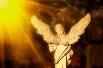 Fototapete - Antique statue: white angel  in the sunlight.