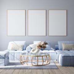 Mockup poster in modern living room interior in pastel colors, 3D render