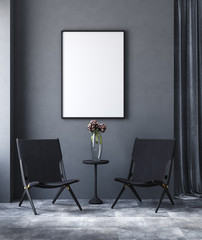 Wall Mural - Mock up poster in black modern living room, industrial style, 3d render