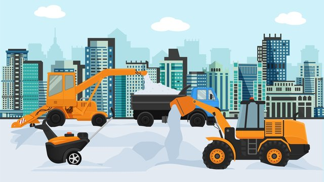 Different machines in winter removing snow vector illustration. Big and small wheeled snow blowers, lorry, tipper truck. City street, buildings houses megapolis background.
