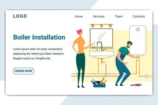 Plumber Setup Water Heater in Bathroom Banner