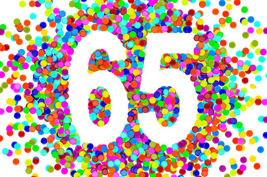 65 from colored confetti. 3D rendering