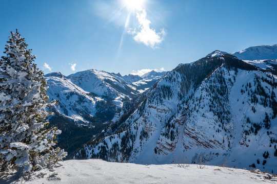 Panoramic view of the Rocky Mountains of Colorado, looking up from the top of Elk Camp chairlift at the Aspen Snowmass ski resort.