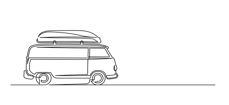 Continuous one line drawing of a trip van