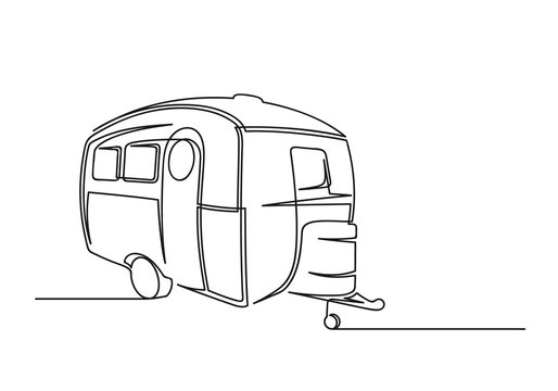 Continuous one line drawing of motorhome