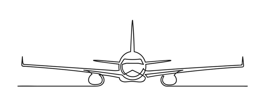 Continuous drawing of one line of an airplane