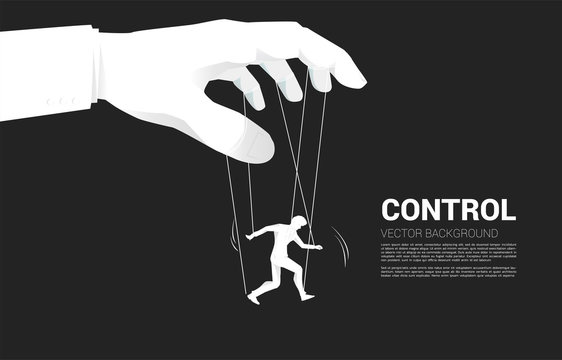 Puppet Master controlling Silhouette of businessman. Concept of manipulation and micromanagement