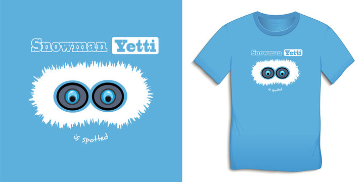 Print on t-shirt graphics design, Snowman Yetti, blue motive winter image, isolated on background vector