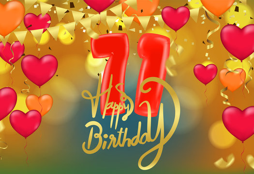 birthday 71th celebration  balloons and confetti glitters colorful design for greeting card