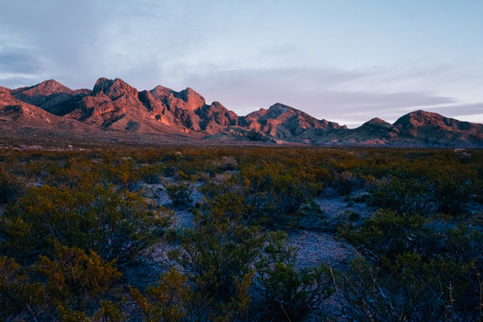 Organ Mountains at Sunset in the desert outside of Las Cruces New Mexico