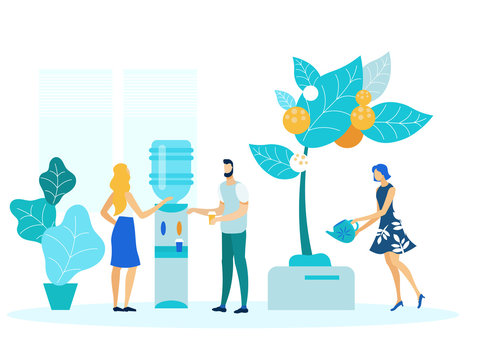 Office Workers on Break Flat Vector Illustration. Company Employees, Staff Cartoon Characters. Colleagues Standing near Cooler, Woman Watering Decorative Tree. Business Lounge Zone, Coworkers Rest