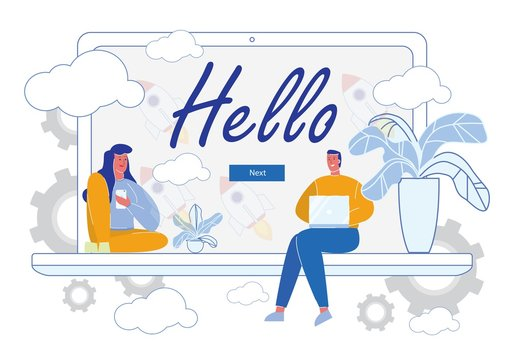 Hello Page with People Cartoon Characters Working Together on Laptop Screen Background. Call Center, Technical Support or Customer Assistance. Business Promotional Welcoming. Flat Vector Illustration.