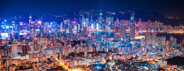 Wall Mural - panorama epic view of Hong Kong Night, from Kowloon to Hong Kong Island. metropolis in Asia