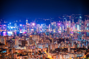 Fototapete - epic view of Hong Kong Night, from Kowloon to Hong Kong Island. metropolis in Asia