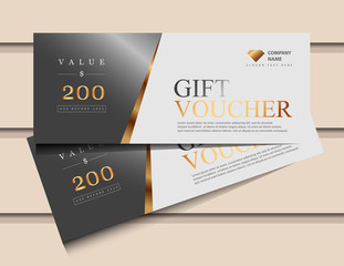 Gift voucher template with glitter gold luxury elements. Vector illustration. Design for invitation, certificate, gift coupon, ticket, voucher.