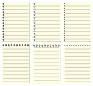 A type set of soft yellow color paper sheet notebook contain straight line and dot line with 3 difference of left side and top, isolated on white background