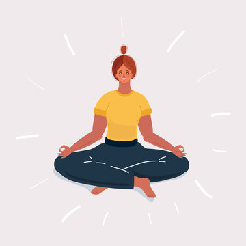 Woman in yoga position on white background.