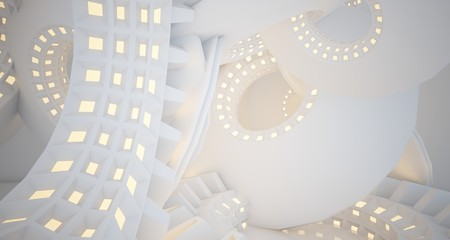 Abstract architectural background, white interior with discs.Neon lighting. 3D illustration and rendering.