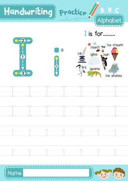 Letter I uppercase and lowercase cute children colorful ABC alphabet trace practice worksheet for kids learning English vocabulary and handwriting layout in A4 vector illustration.
